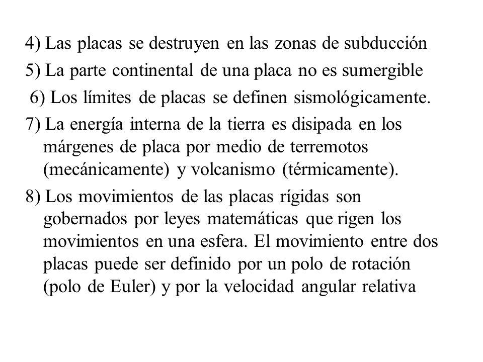 4) Las placas se destruyen en las zonas de subducción 5) La parte continental de una placa no es sumergible 6) Los límites de placas se definen sismol