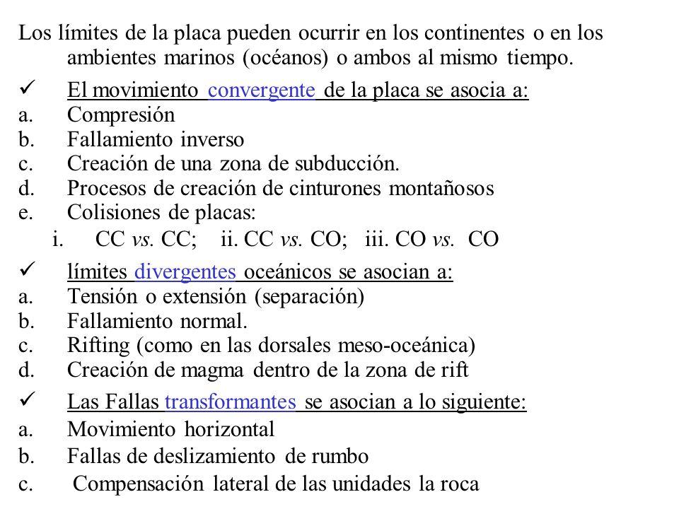 Los límites de la placa pueden ocurrir en los continentes o en los ambientes marinos (océanos) o ambos al mismo tiempo. El movimiento convergente de l