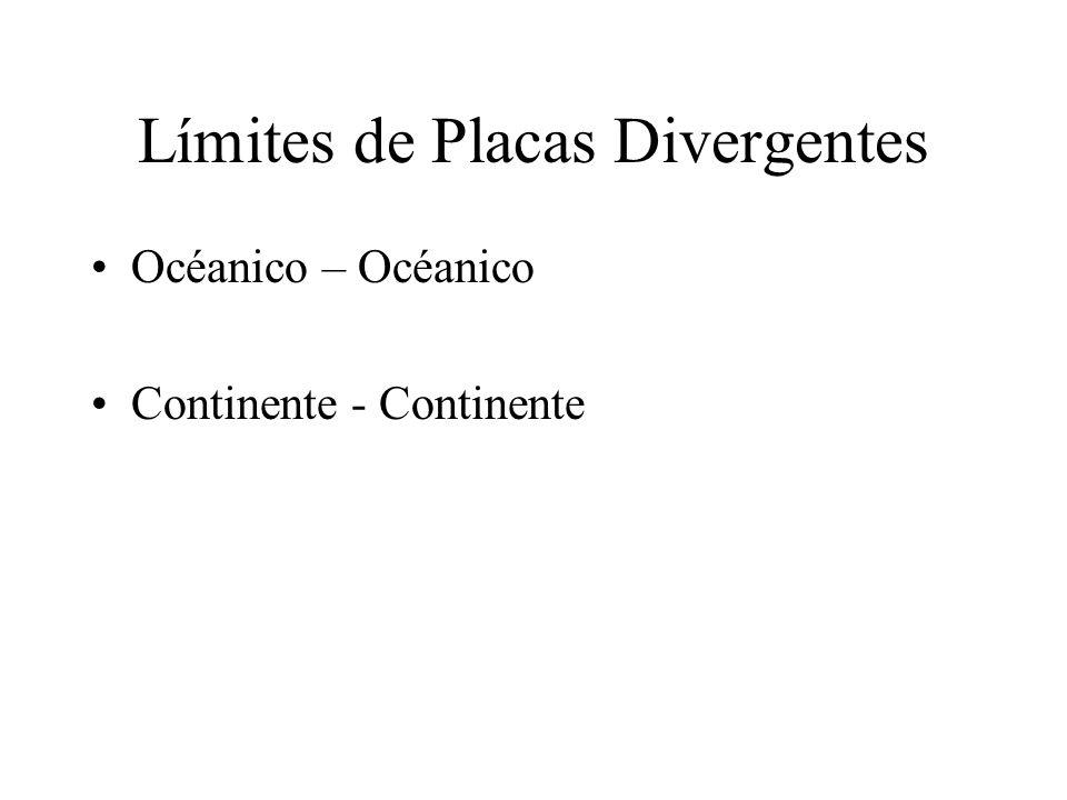 Límites de Placas Divergentes Océanico – Océanico Continente - Continente