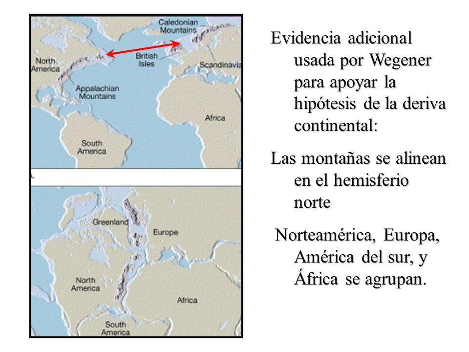 Evidencia adicional usada por Wegener para apoyar la hipótesis de la deriva continental: Las montañas se alinean en el hemisferio norte Norteamérica,