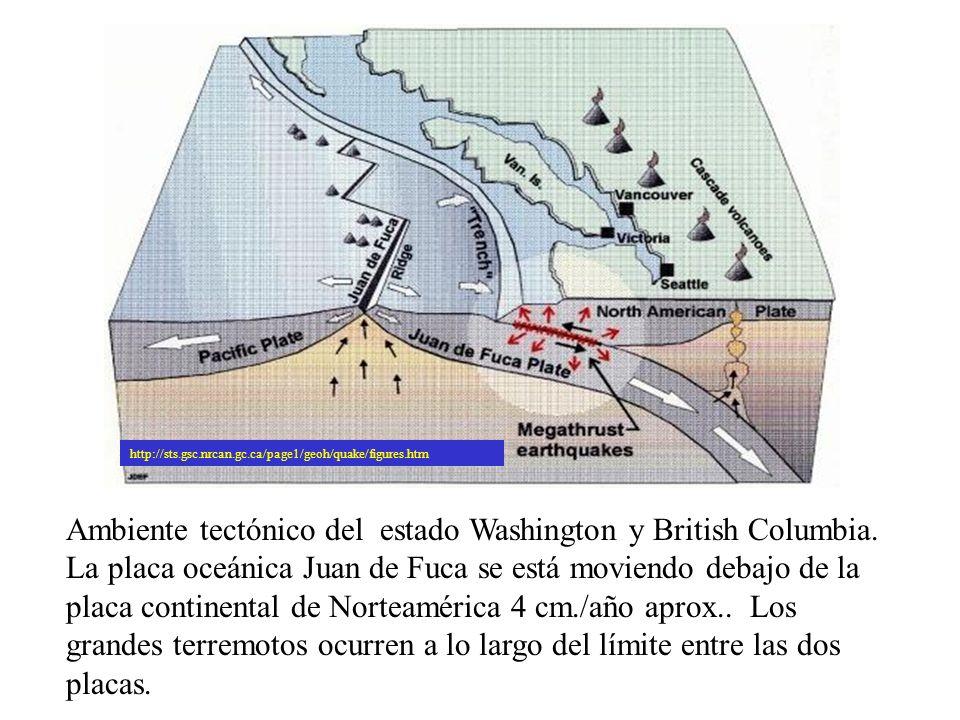 http://sts.gsc.nrcan.gc.ca/page1/geoh/quake/figures.htm Ambiente tectónico del estado Washington y British Columbia. La placa oceánica Juan de Fuca se