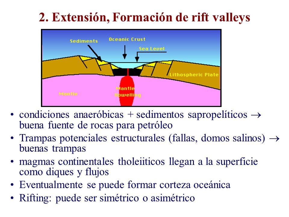 2. Extensión, Formación de rift valleys condiciones anaeróbicas + sedimentos sapropelíticos buena fuente de rocas para petróleo Trampas potenciales es