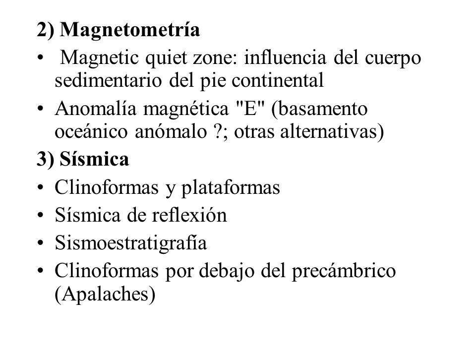 2) Magnetometría Magnetic quiet zone: influencia del cuerpo sedimentario del pie continental Anomalía magnética