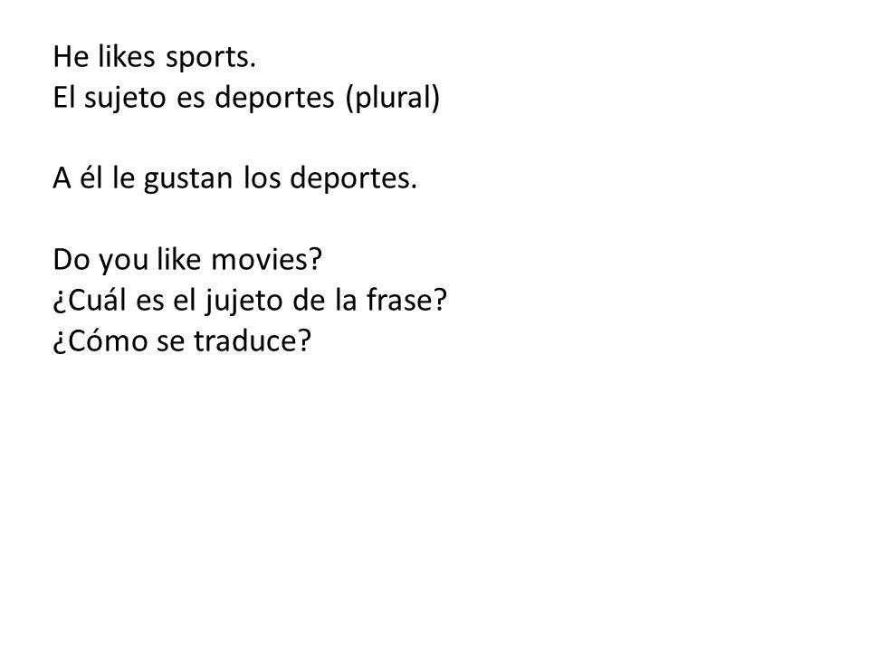 He likes sports. El sujeto es deportes (plural) A él le gustan los deportes.