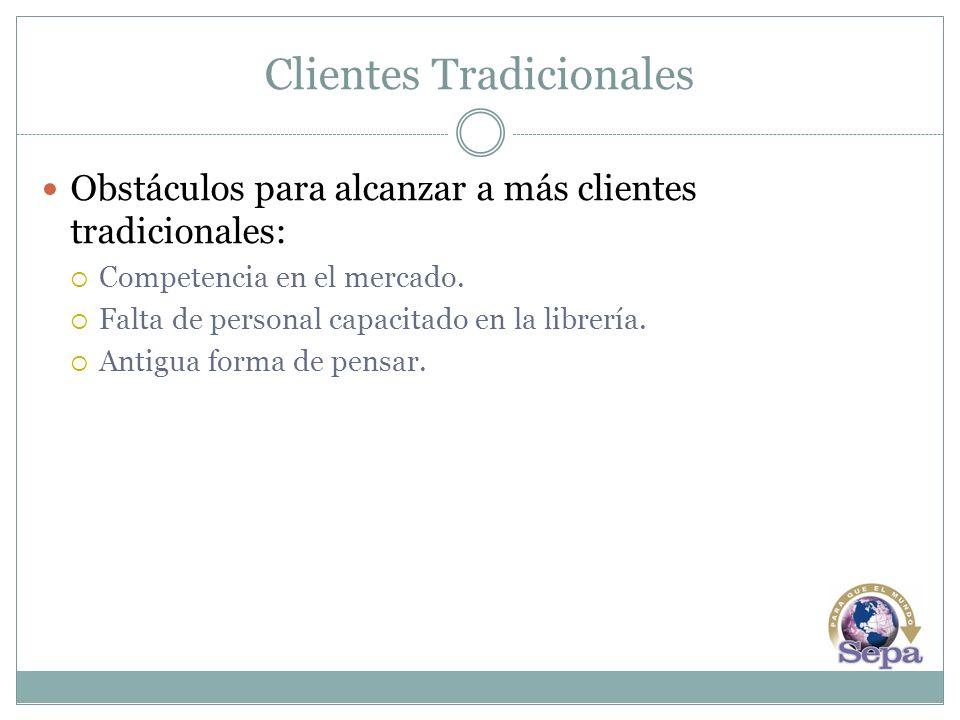 Clientes Tradicionales Obstáculos para alcanzar a más clientes tradicionales: Competencia en el mercado. Falta de personal capacitado en la librería.
