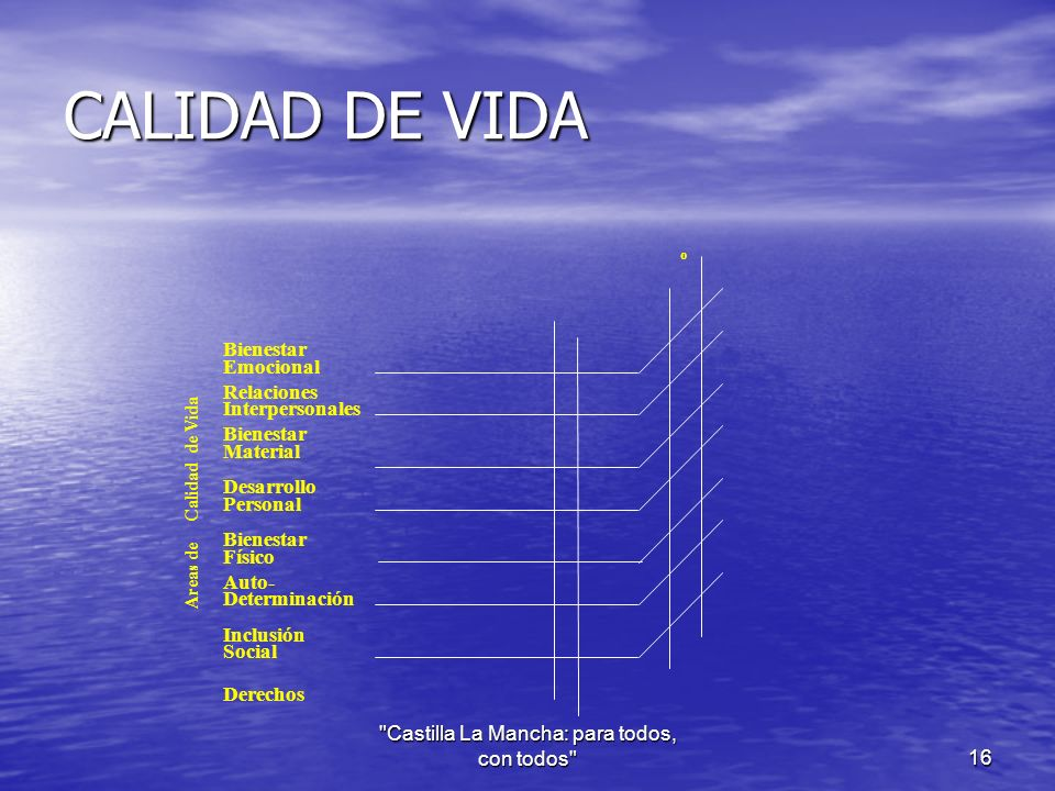 CALIDAD DE VIDA Bienestar Emocional Relaciones Interpersonales Bienestar Material Desarrollo Personal Bienestar Físico Auto- Determinación Inclusión Social Derechos o Areas de Calidad de Vida Castilla La Mancha: para todos, con todos 16
