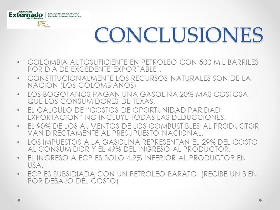 CONCLUSIONES COLOMBIA AUTOSUFICIENTE EN PETROLEO CON 500 MIL BARRILES POR DIA DE EXCEDENTE EXPORTABLE.