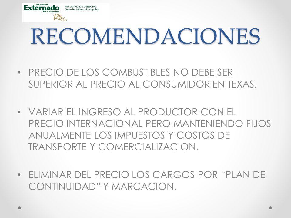 RECOMENDACIONES PRECIO DE LOS COMBUSTIBLES NO DEBE SER SUPERIOR AL PRECIO AL CONSUMIDOR EN TEXAS.
