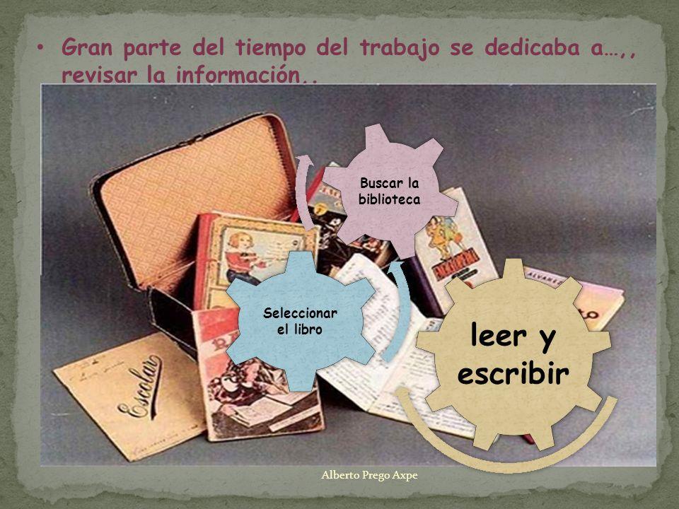 Gran parte del tiempo del trabajo se dedicaba a…,, revisar la información,. leer y escribir Seleccionar el libro Buscar la biblioteca