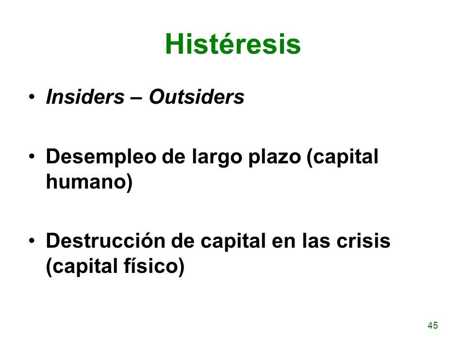 Histéresis Insiders – Outsiders Desempleo de largo plazo (capital humano) Destrucción de capital en las crisis (capital físico) 45