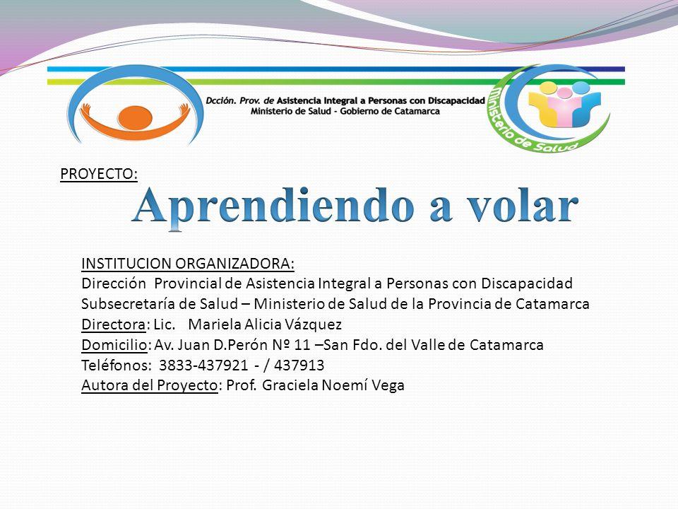 INSTITUCION ORGANIZADORA: Dirección Provincial de Asistencia Integral a Personas con Discapacidad Subsecretaría de Salud – Ministerio de Salud de la Provincia de Catamarca Directora: Lic.