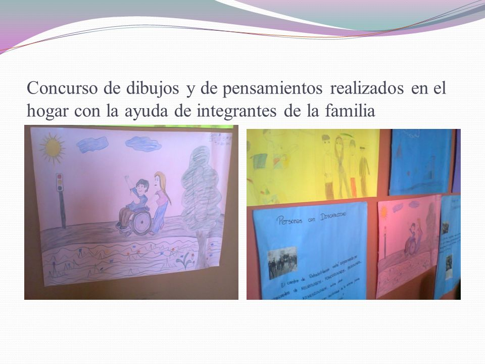 Concurso de dibujos y de pensamientos realizados en el hogar con la ayuda de integrantes de la familia