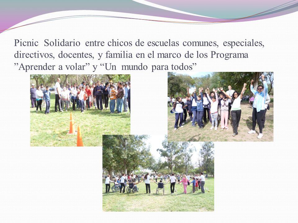 Picnic Solidario entre chicos de escuelas comunes, especiales, directivos, docentes, y familia en el marco de los Programa Aprender a volar y Un mundo para todos