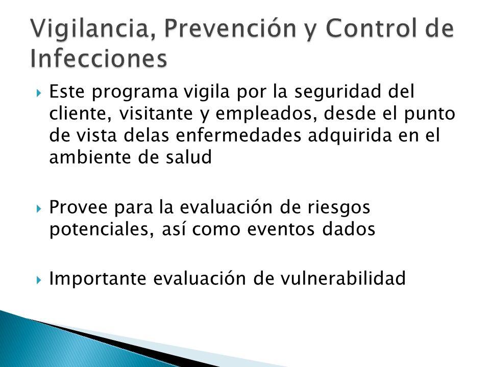 Este programa vigila por la seguridad del cliente, visitante y empleados, desde el punto de vista delas enfermedades adquirida en el ambiente de salud