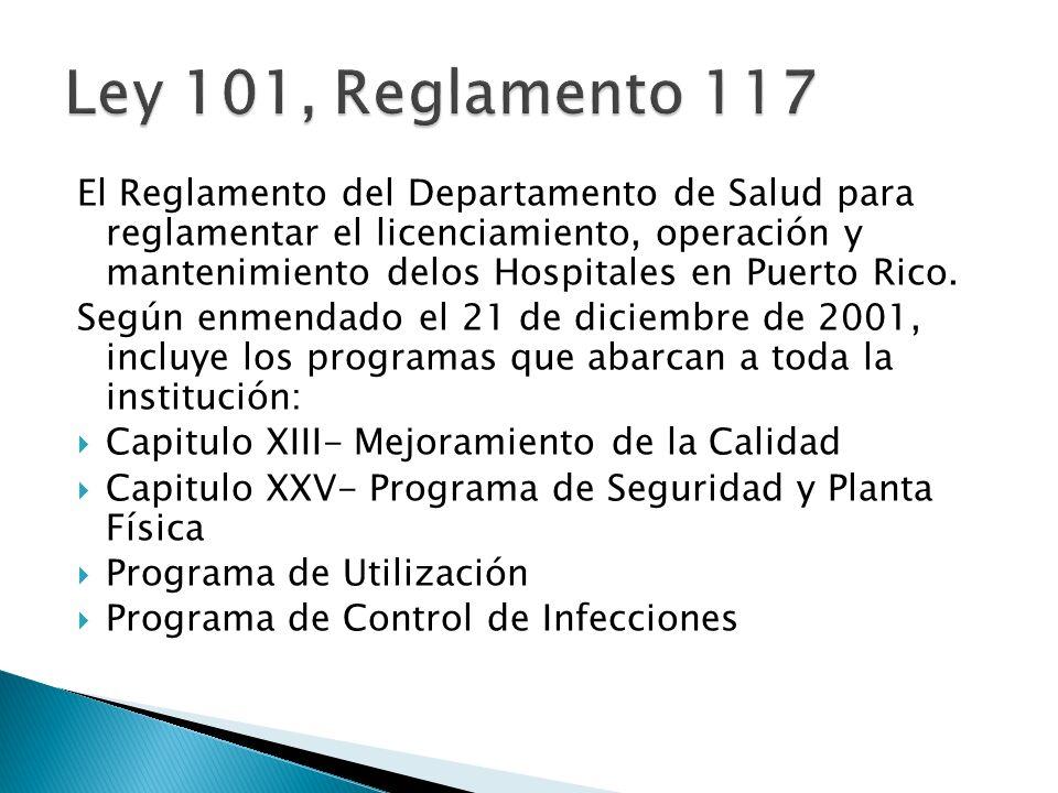 El Reglamento del Departamento de Salud para reglamentar el licenciamiento, operación y mantenimiento delos Hospitales en Puerto Rico. Según enmendado