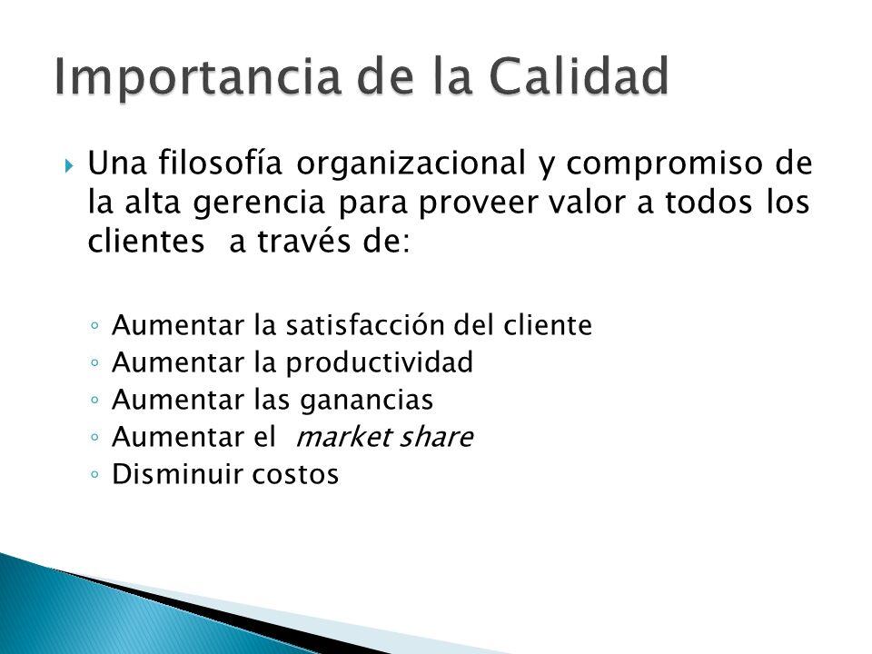 Una filosofía organizacional y compromiso de la alta gerencia para proveer valor a todos los clientes a través de: Aumentar la satisfacción del client