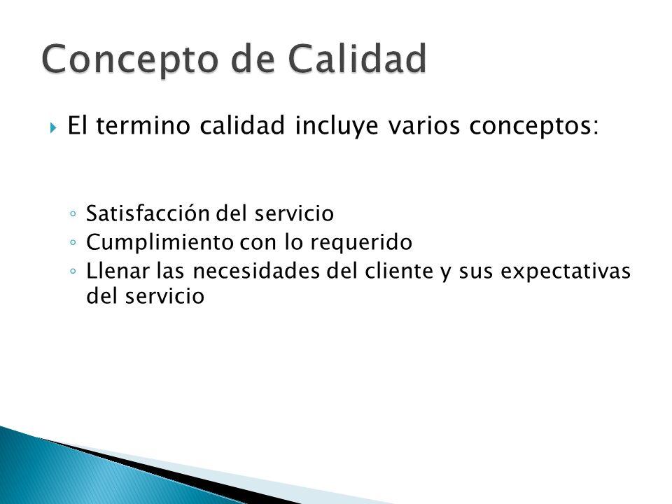 El termino calidad incluye varios conceptos: Satisfacción del servicio Cumplimiento con lo requerido Llenar las necesidades del cliente y sus expectat