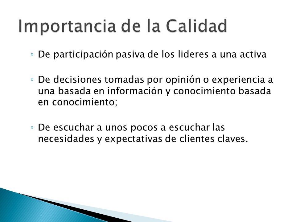 De participación pasiva de los lideres a una activa De decisiones tomadas por opinión o experiencia a una basada en información y conocimiento basada