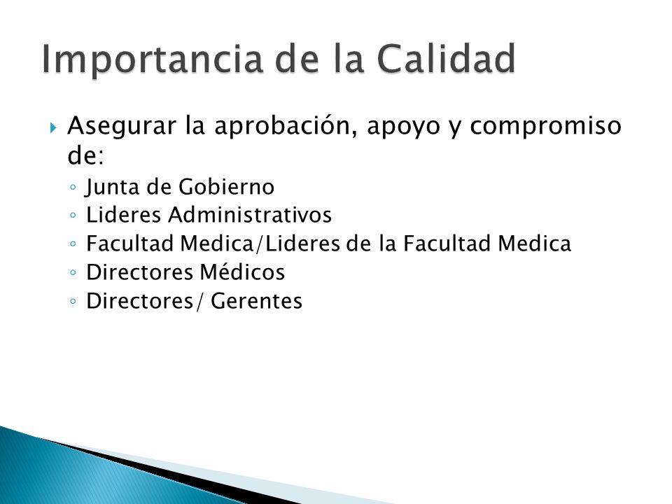 Asegurar la aprobación, apoyo y compromiso de: Junta de Gobierno Lideres Administrativos Facultad Medica/Lideres de la Facultad Medica Directores Médi