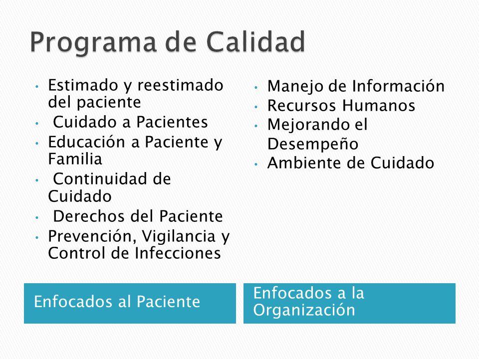 Enfocados al Paciente Enfocados a la Organización Estimado y reestimado del paciente Cuidado a Pacientes Educación a Paciente y Familia Continuidad de