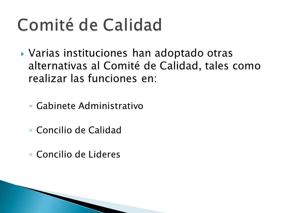 Varias instituciones han adoptado otras alternativas al Comité de Calidad, tales como realizar las funciones en: Gabinete Administrativo Concilio de C