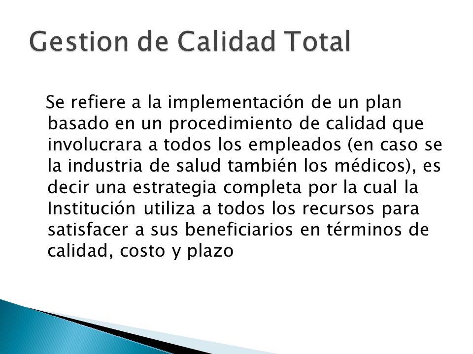 Se refiere a la implementación de un plan basado en un procedimiento de calidad que involucrara a todos los empleados (en caso se la industria de salu
