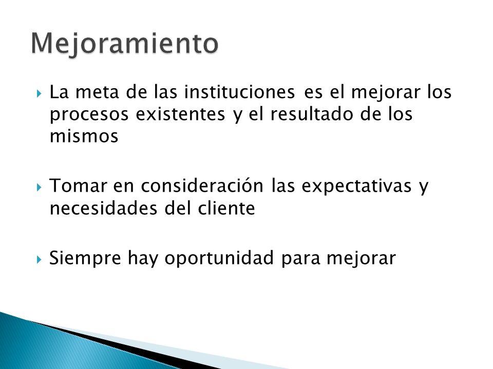 La meta de las instituciones es el mejorar los procesos existentes y el resultado de los mismos Tomar en consideración las expectativas y necesidades