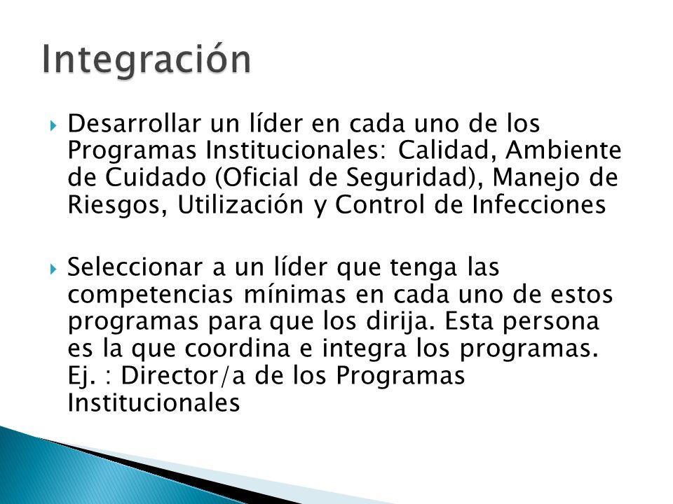 Desarrollar un líder en cada uno de los Programas Institucionales: Calidad, Ambiente de Cuidado (Oficial de Seguridad), Manejo de Riesgos, Utilización