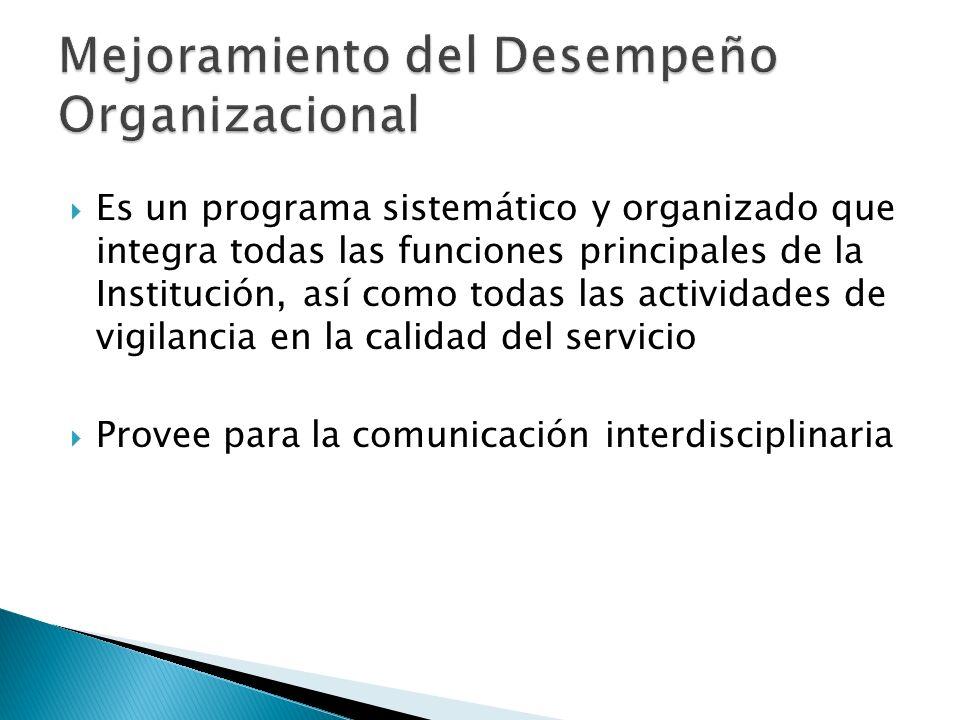 Es un programa sistemático y organizado que integra todas las funciones principales de la Institución, así como todas las actividades de vigilancia en