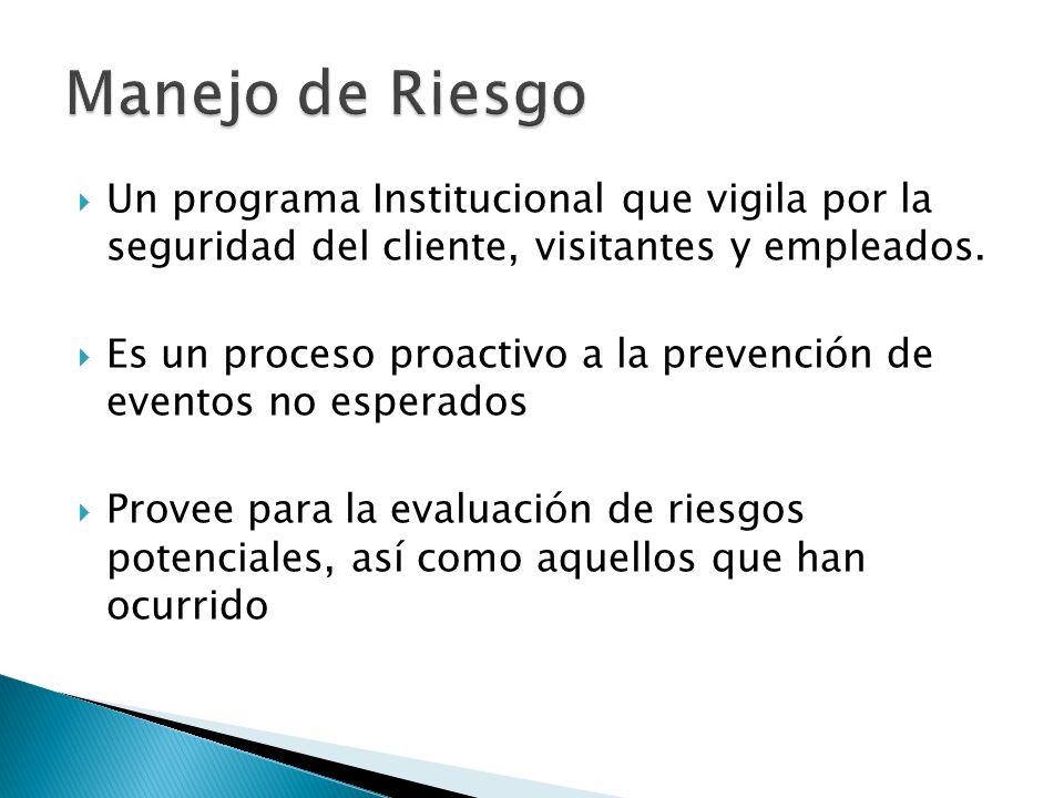 Un programa Institucional que vigila por la seguridad del cliente, visitantes y empleados. Es un proceso proactivo a la prevención de eventos no esper