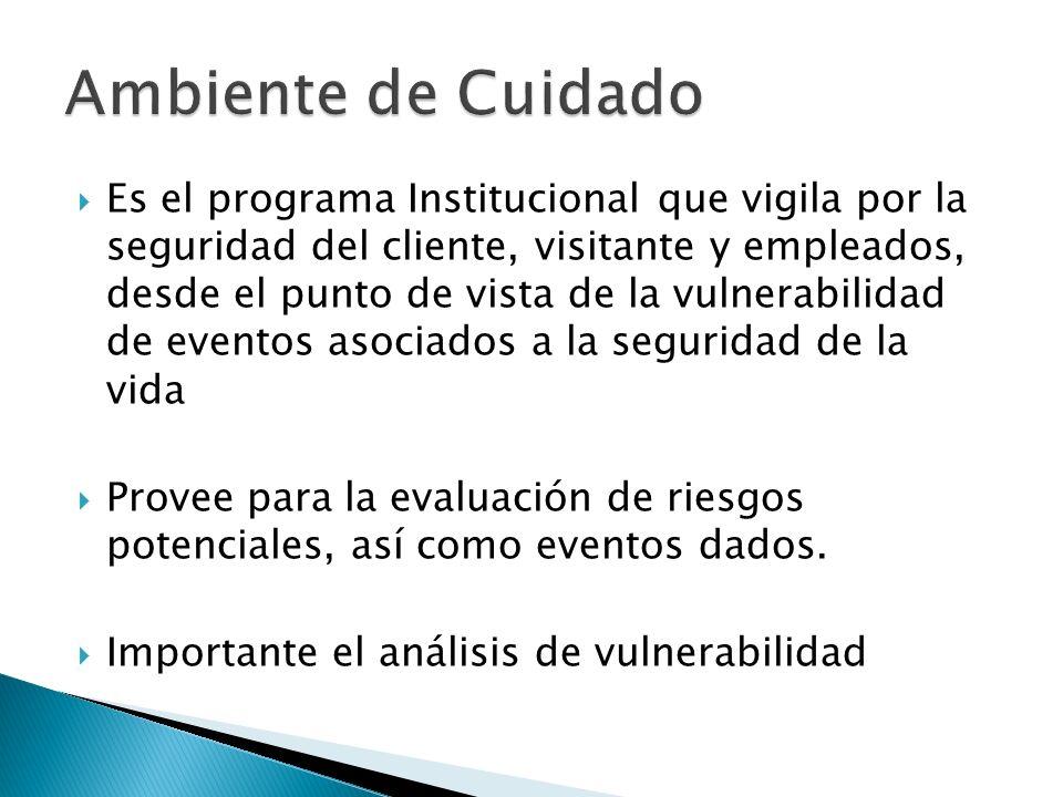 Es el programa Institucional que vigila por la seguridad del cliente, visitante y empleados, desde el punto de vista de la vulnerabilidad de eventos a