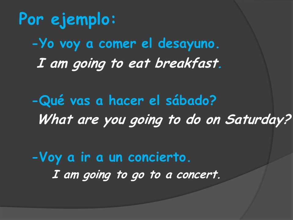 Por ejemplo: -Yo voy a comer el desayuno. I am going to eat breakfast. -Qué vas a hacer el sábado? What are you going to do on Saturday? -Voy a ir a u