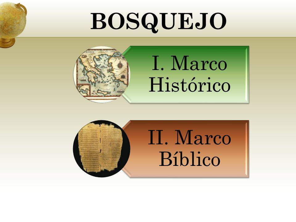 BOSQUEJO I. Marco Histórico II. Marco Bíblico
