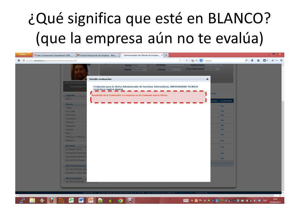 ¿Qué significa que esté en BLANCO? (que la empresa aún no te evalúa)