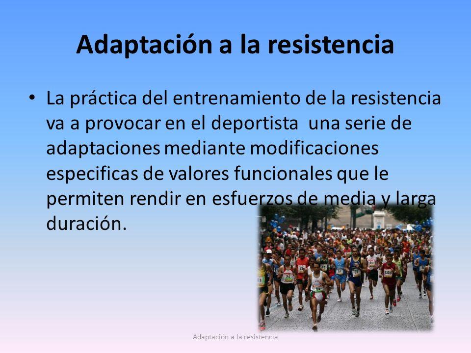 Adaptación a la resistencia La práctica del entrenamiento de la resistencia va a provocar en el deportista una serie de adaptaciones mediante modifica