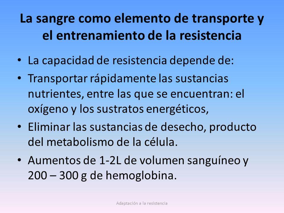 La sangre como elemento de transporte y el entrenamiento de la resistencia La capacidad de resistencia depende de: Transportar rápidamente las sustanc
