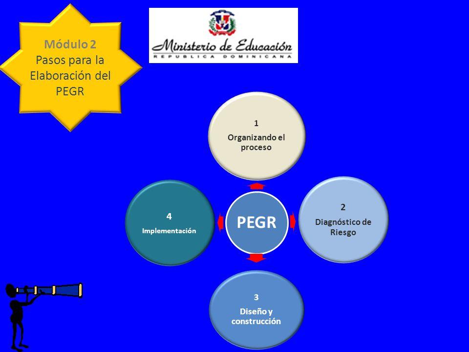 Módulo 2 Pasos para la Elaboración del PEGR PEGR 1 Organizando el proceso 2 Diagnóstico de Riesgo 3 Diseño y construcción 4 Implementación