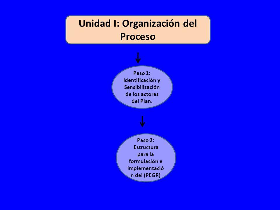 Unidad I: Organización del Proceso Paso 1: Identificación y Sensibilización de los actores del Plan.