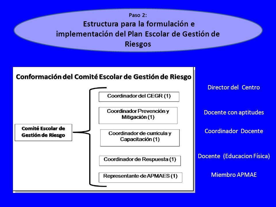 Paso 2: Estructura para la formulación e implementación del Plan Escolar de Gestión de Riesgos Director del Centro Docente con aptitudes Coordinador Docente Docente (Educacion Física) Miembro APMAE