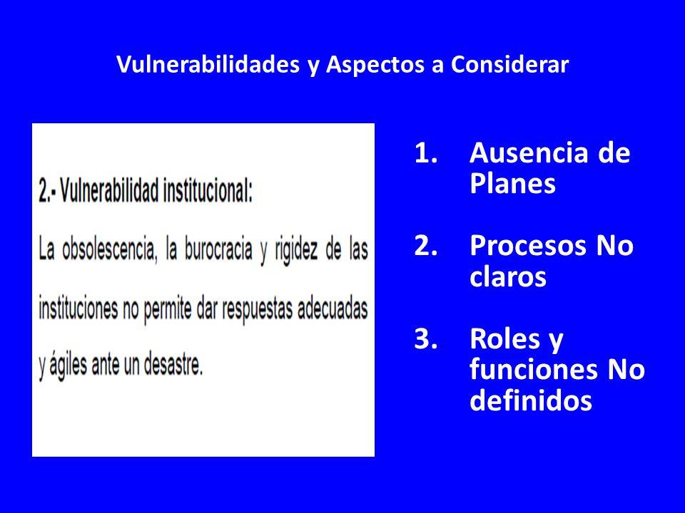 Vulnerabilidades y Aspectos a Considerar 1.Ausencia de Planes 2.Procesos No claros 3.Roles y funciones No definidos