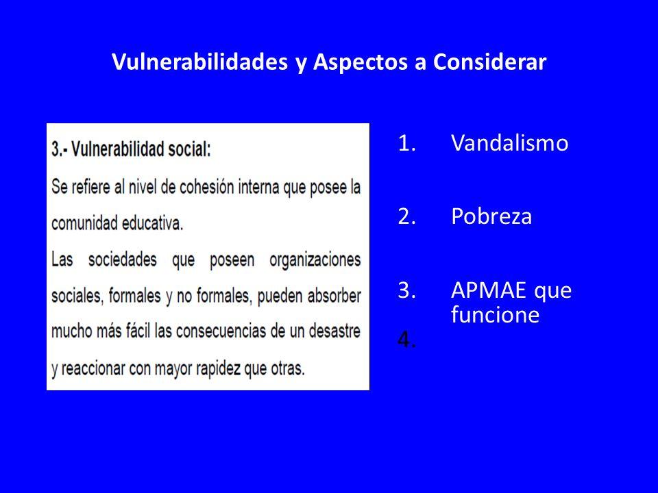 Vulnerabilidades y Aspectos a Considerar 1.Vandalismo 2.Pobreza 3.APMAE que funcione 4.