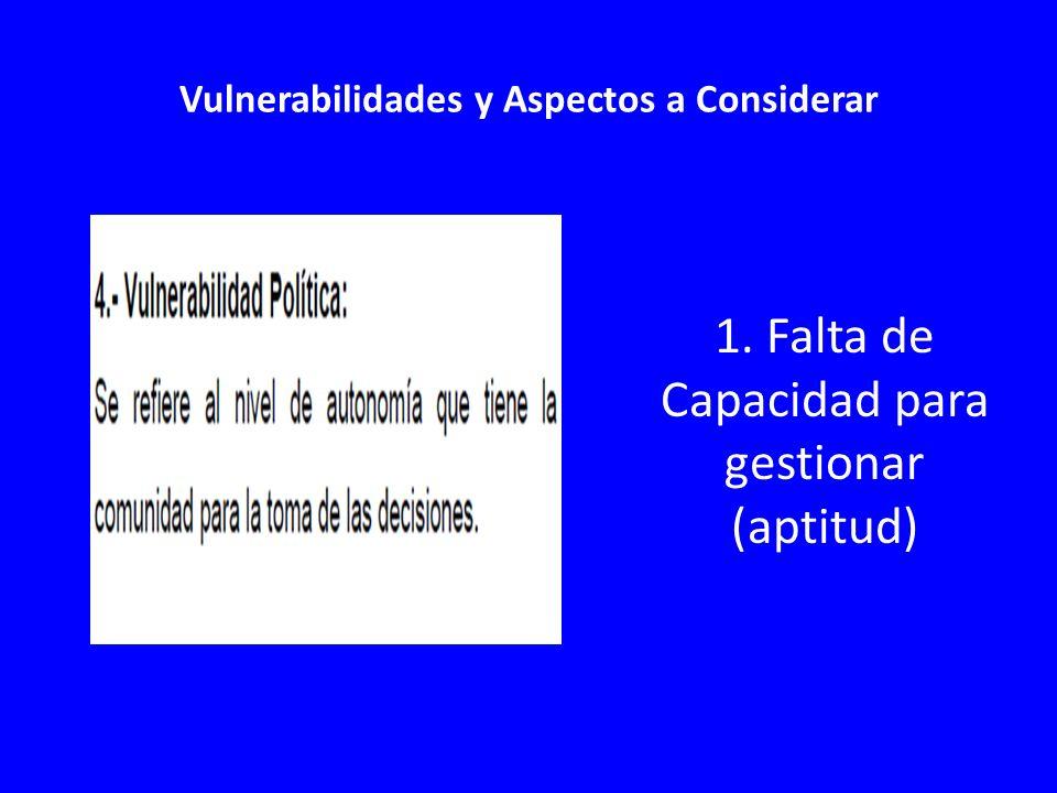 Vulnerabilidades y Aspectos a Considerar 1. Falta de Capacidad para gestionar (aptitud)