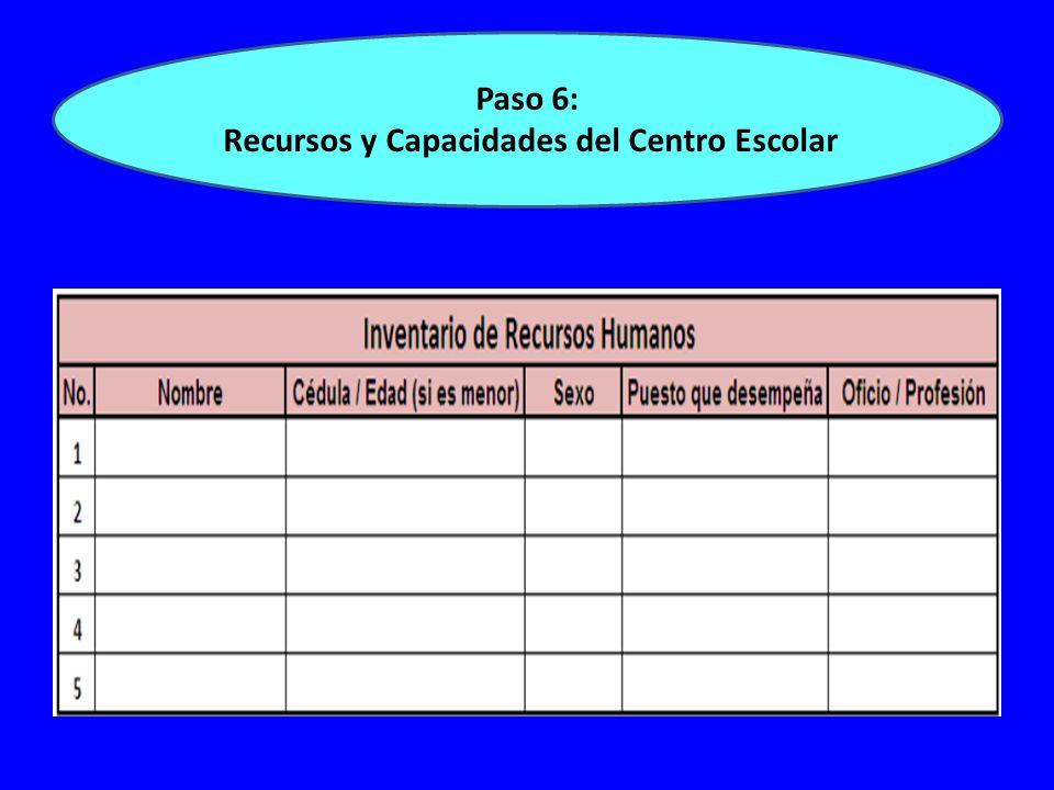 Paso 6: Recursos y Capacidades del Centro Escolar