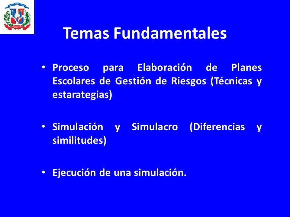 Temas Fundamentales Proceso para Elaboración de Planes Escolares de Gestión de Riesgos (Técnicas y estarategias) Simulación y Simulacro (Diferencias y similitudes) Ejecución de una simulación.