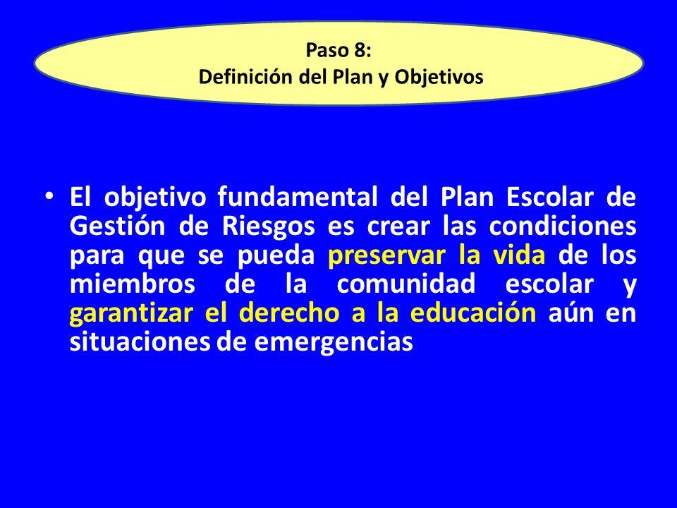 El objetivo fundamental del Plan Escolar de Gestión de Riesgos es crear las condiciones para que se pueda preservar la vida de los miembros de la comunidad escolar y garantizar el derecho a la educación aún en situaciones de emergencias lan Escolar de Gestión de Riesgos es