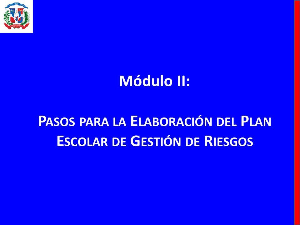 Módulo II: P ASOS PARA LA E LABORACIÓN DEL P LAN E SCOLAR DE G ESTIÓN DE R IESGOS