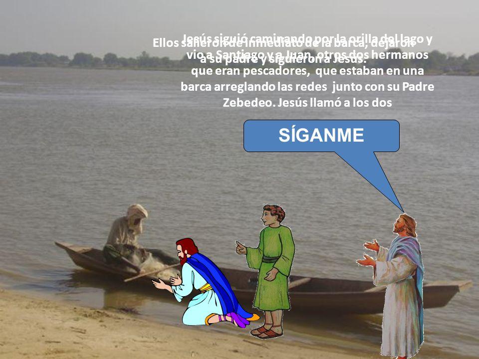 Jesús siguió caminando por la orilla del lago y vio a Santiago y a Juan, otros dos hermanos que eran pescadores, que estaban en una barca arreglando l