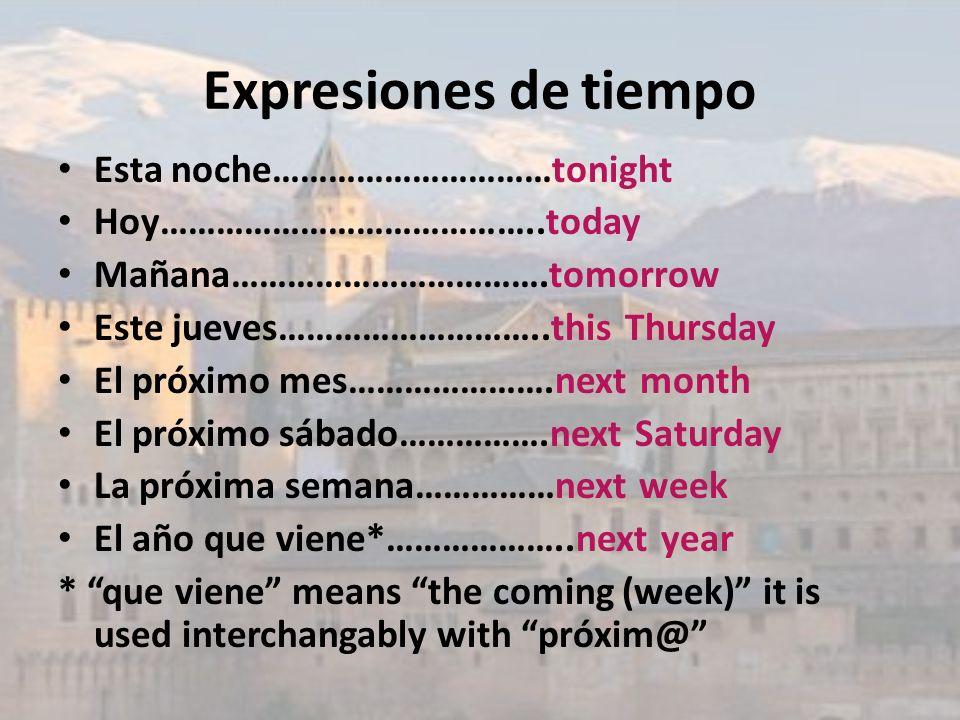 Expresiones de tiempo Esta noche…………………………tonight Hoy…………………………………..today Mañana…………………………….tomorrow Este jueves………………………..this Thursday El próximo me
