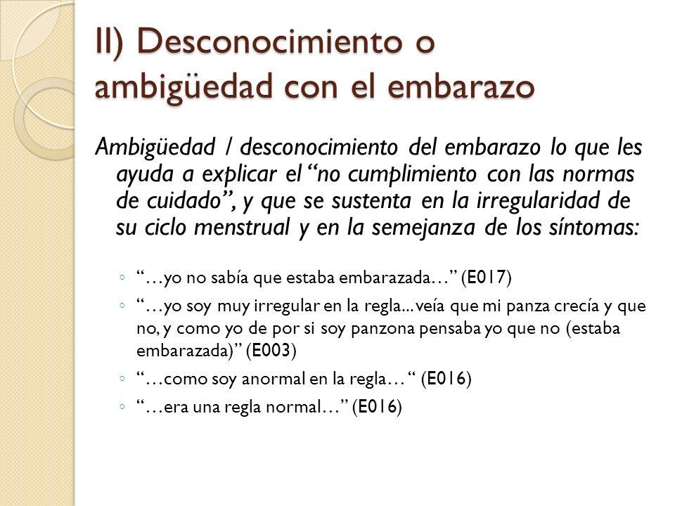 II) Desconocimiento o ambigüedad con el embarazo Ambigüedad / desconocimiento del embarazo lo que les ayuda a explicar el no cumplimiento con las normas de cuidado, y que se sustenta en la irregularidad de su ciclo menstrual y en la semejanza de los síntomas: …yo no sabía que estaba embarazada… (E017) …yo soy muy irregular en la regla...