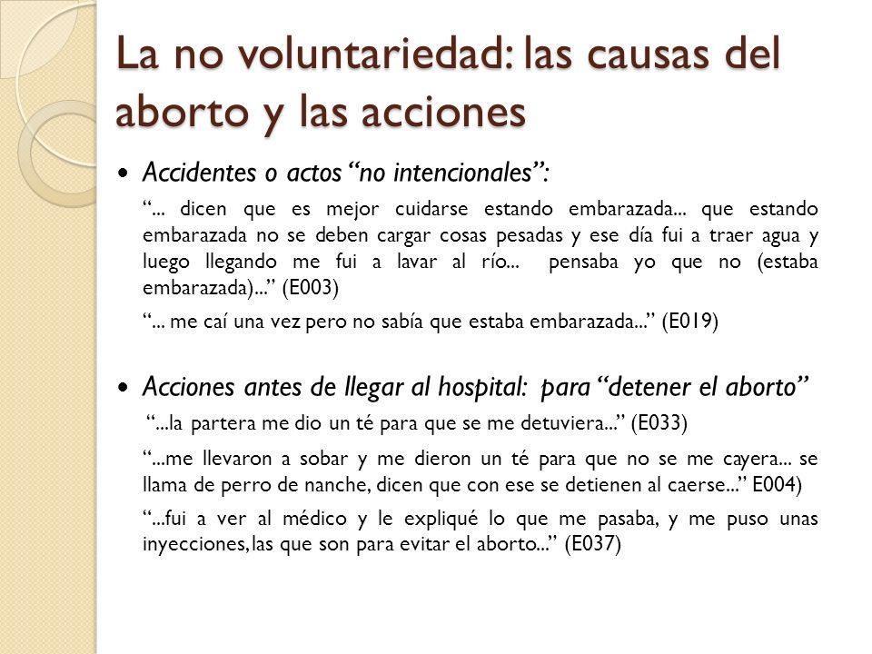 La no voluntariedad: las causas del aborto y las acciones Accidentes o actos no intencionales:... dicen que es mejor cuidarse estando embarazada... qu
